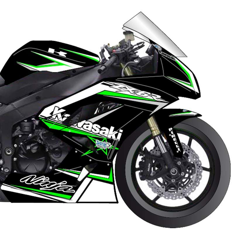 kawasaki zx6r 2009 15 kit deco fluo ou chrome cosmic grafic v 2 kits d co cosmic kits. Black Bedroom Furniture Sets. Home Design Ideas