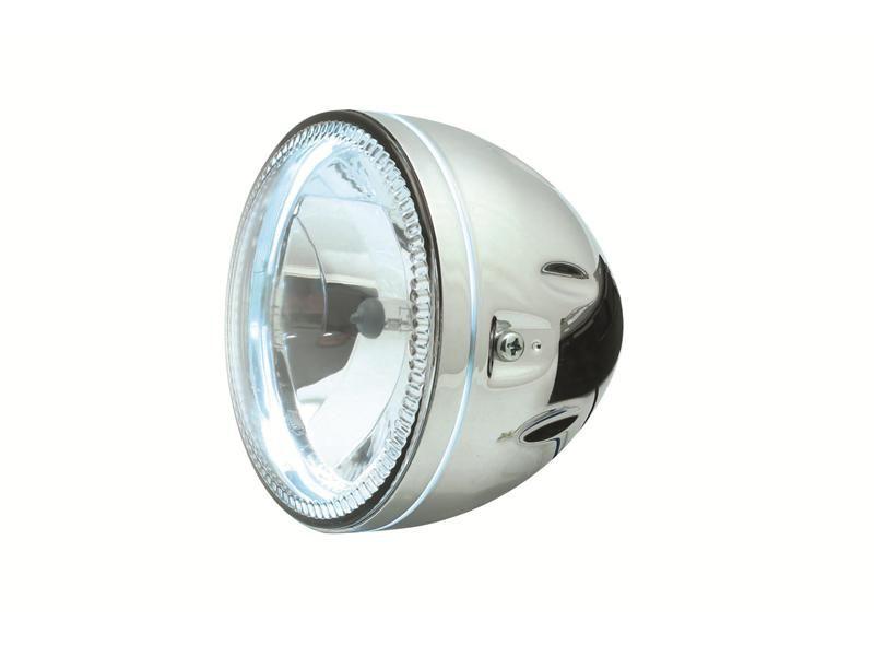 phare rond avec veilleuse led p riph rique fixations lat rales ou dessous chrom ou noir. Black Bedroom Furniture Sets. Home Design Ideas