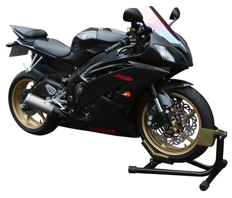 support de transport moto tubulaire prise de la roue avant chargement equipement stand. Black Bedroom Furniture Sets. Home Design Ideas